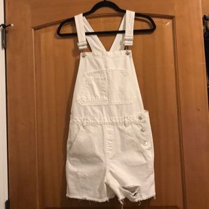 Topshop white dungaree overall shorts